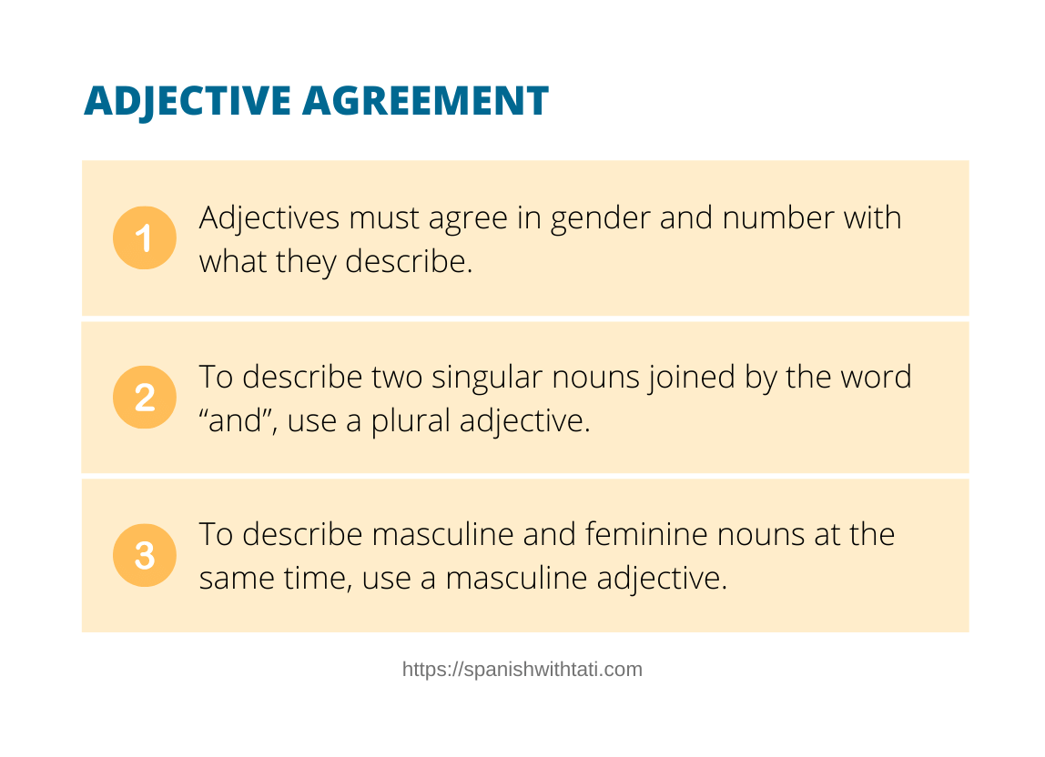 adjective agreement in spanish